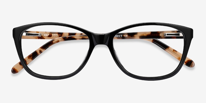 Masque Black Acetate Eyeglass Frames from EyeBuyDirect, Closed View