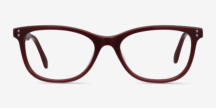 Prodigy Burgundy Acetate Eyeglass Frames from EyeBuyDirect, Front View
