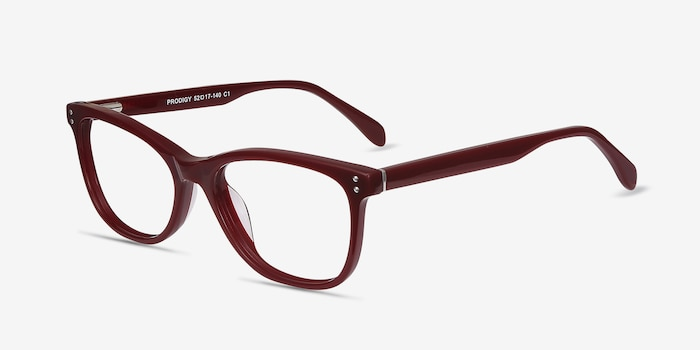 Prodigy Burgundy Acetate Eyeglass Frames from EyeBuyDirect, Angle View