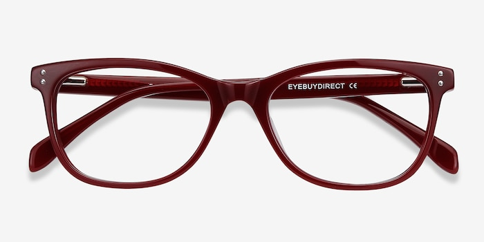 Prodigy Burgundy Acetate Eyeglass Frames from EyeBuyDirect, Closed View