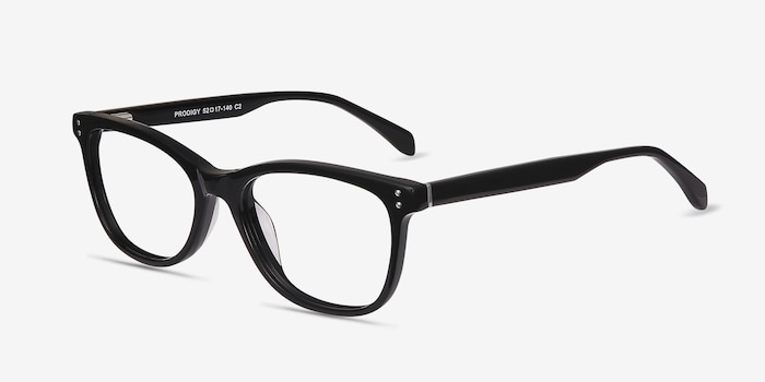 Prodigy Black Acetate Eyeglass Frames from EyeBuyDirect, Angle View