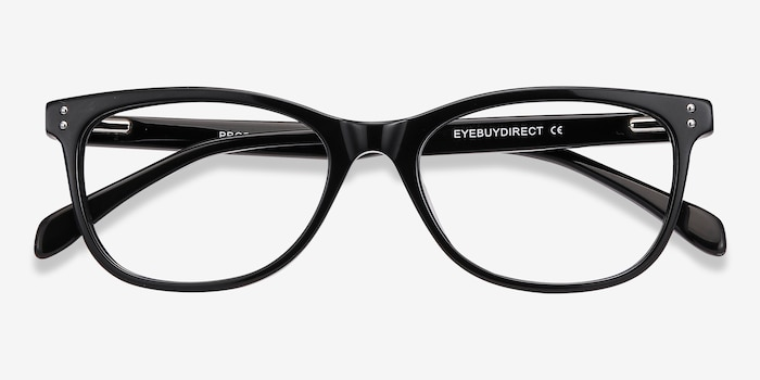 Prodigy Black Acetate Eyeglass Frames from EyeBuyDirect, Closed View