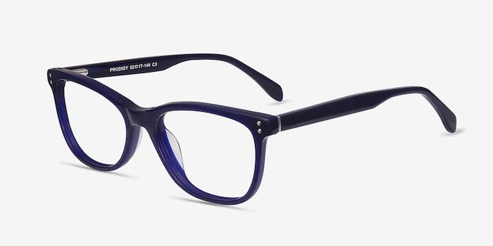 Prodigy Blue Acetate Eyeglass Frames from EyeBuyDirect, Angle View