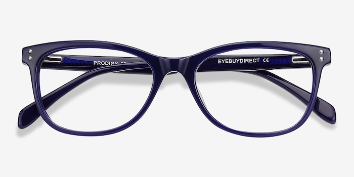 Prodigy Blue Acetate Eyeglass Frames from EyeBuyDirect, Closed View