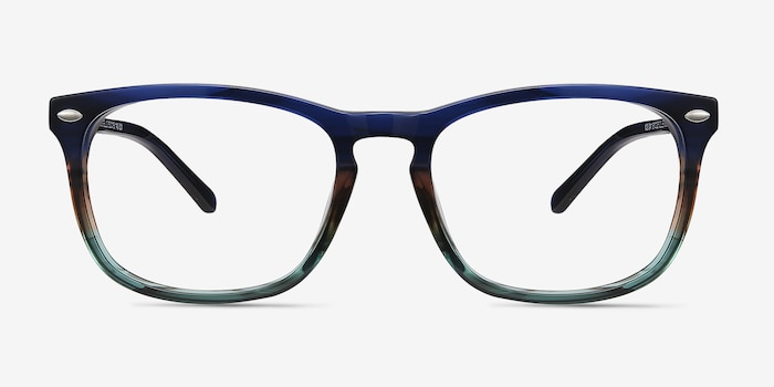 Costello Blue Striped Acetate Eyeglass Frames from EyeBuyDirect, Front View