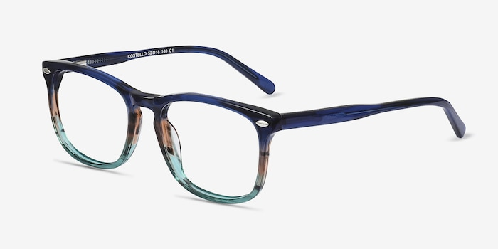Costello Blue Striped Acetate Eyeglass Frames from EyeBuyDirect, Angle View