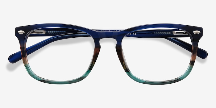 Costello Blue Striped Acetate Eyeglass Frames from EyeBuyDirect, Closed View