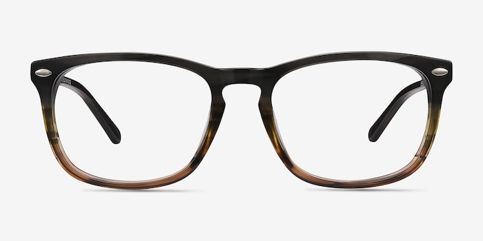 Costello Brown Striped Acetate Eyeglass Frames from EyeBuyDirect, Front View