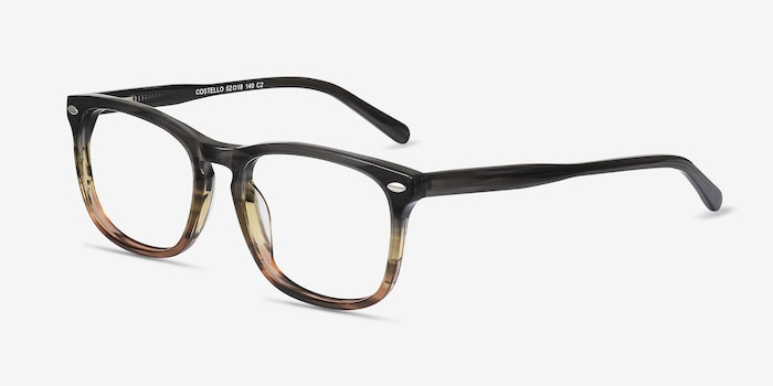 Costello Brown Striped Acétate Montures de Lunettes d'EyeBuyDirect, Vue d'Angle
