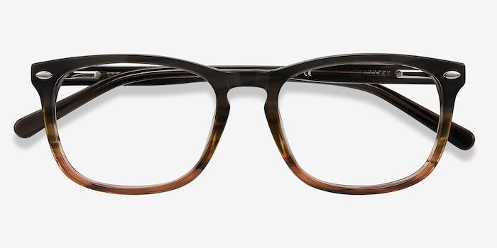 Costello Brown Striped Acétate Montures de Lunettes d'EyeBuyDirect, Vue Rapprochée