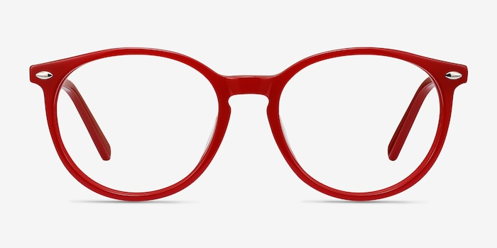 Blink Red Acetate Eyeglass Frames from EyeBuyDirect, Front View