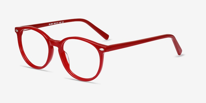 Blink Red Acetate Eyeglass Frames from EyeBuyDirect, Angle View