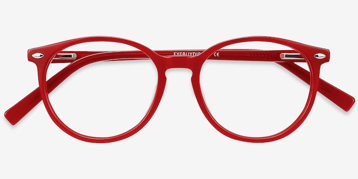 Blink Rouge Acétate Montures de Lunettes d'EyeBuyDirect, Vue Rapprochée