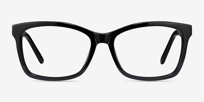 Mode Black Acetate Eyeglass Frames from EyeBuyDirect, Front View