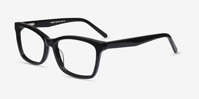 Mode Black Acetate Eyeglass Frames from EyeBuyDirect, Angle View