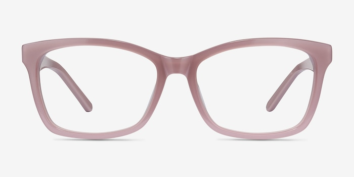 Mode Matte Pink Acetate Eyeglass Frames from EyeBuyDirect, Front View