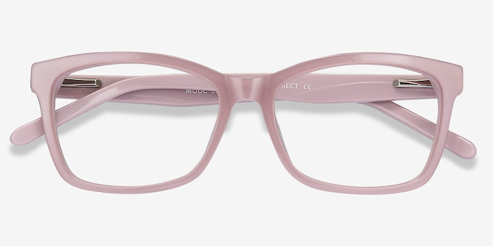 Mode Matte Pink Acetate Eyeglass Frames from EyeBuyDirect, Closed View