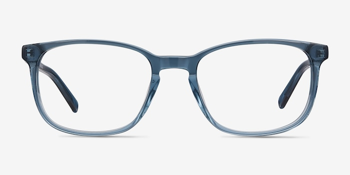 Emblem Blue Acetate Eyeglass Frames from EyeBuyDirect, Front View