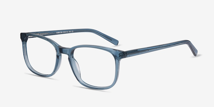 Emblem Blue Acetate Eyeglass Frames from EyeBuyDirect, Angle View