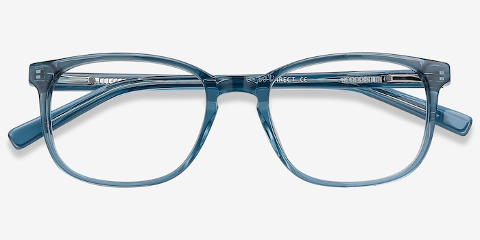 Emblem Blue Acetate Eyeglass Frames from EyeBuyDirect, Closed View