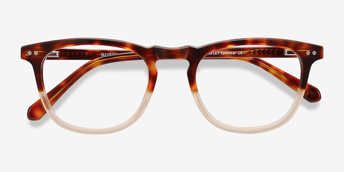 Illusion Tortoise Clear Acetate Eyeglass Frames from EyeBuyDirect, Closed View