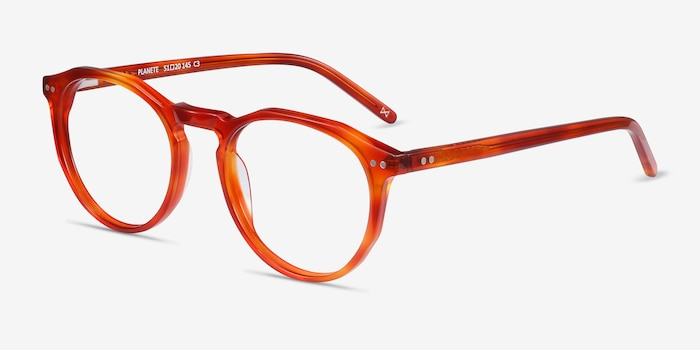 Planete Brown Tortoise Acetate Eyeglass Frames from EyeBuyDirect, Angle View