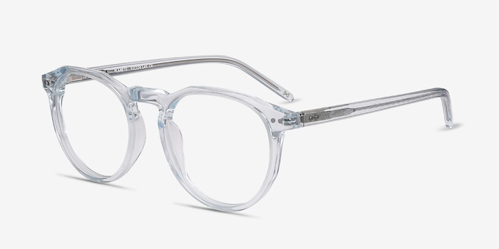 Planete Clear Blue Acetate Eyeglass Frames from EyeBuyDirect, Angle View