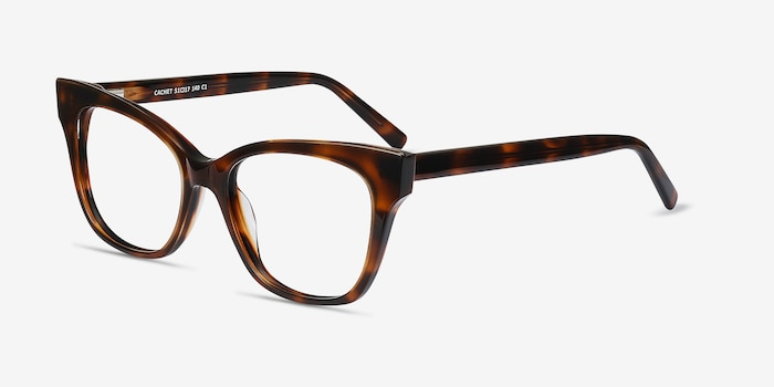 Cachet Tortoise Acetate Eyeglass Frames from EyeBuyDirect, Angle View