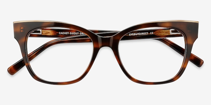 Cachet Tortoise Acetate Eyeglass Frames from EyeBuyDirect, Closed View