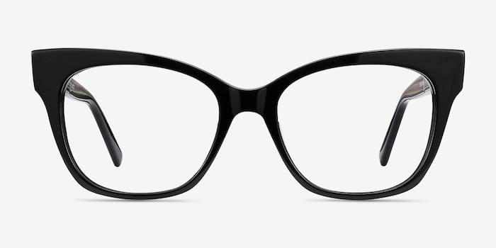 Cachet Black Acetate Eyeglass Frames from EyeBuyDirect, Front View