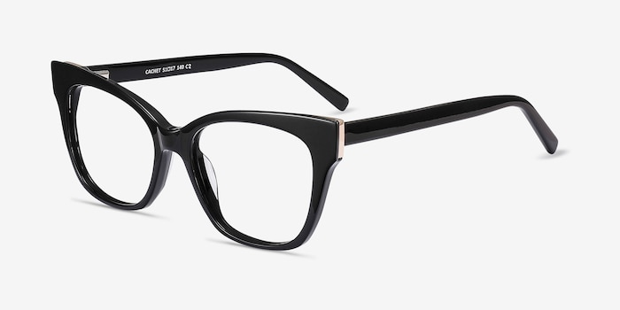 Cachet Black Acetate Eyeglass Frames from EyeBuyDirect, Angle View