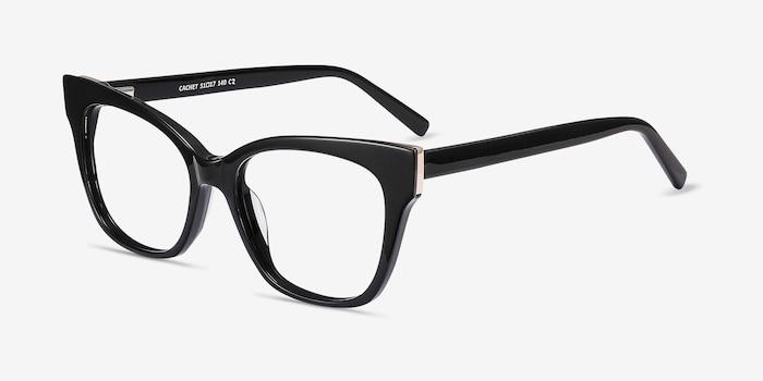 Cachet Noir Acétate Montures de Lunettes d'EyeBuyDirect, Vue d'Angle