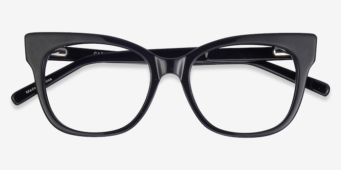 Cachet Black Acetate Eyeglass Frames from EyeBuyDirect, Closed View