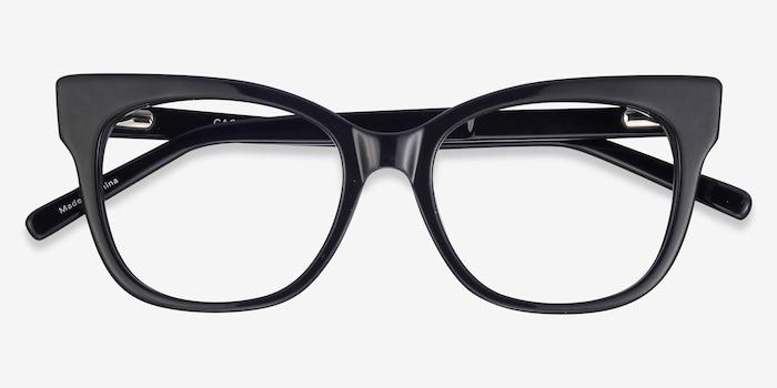 Cachet Noir Acétate Montures de Lunettes d'EyeBuyDirect, Vue Rapprochée