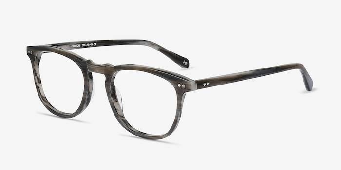 Illusion Gray Striped Acetate Eyeglass Frames from EyeBuyDirect, Angle View