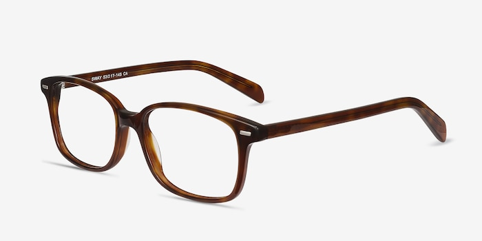 Sway Brown Tortoise Acetate Eyeglass Frames from EyeBuyDirect, Angle View