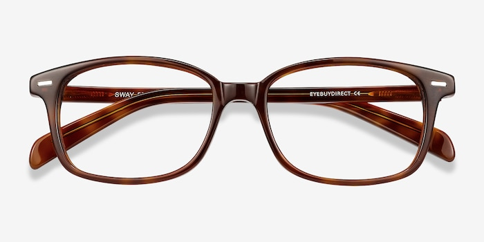Sway Brown Tortoise Acetate Eyeglass Frames from EyeBuyDirect, Closed View