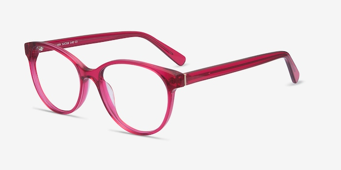 Laya Red Acetate Eyeglass Frames from EyeBuyDirect, Angle View