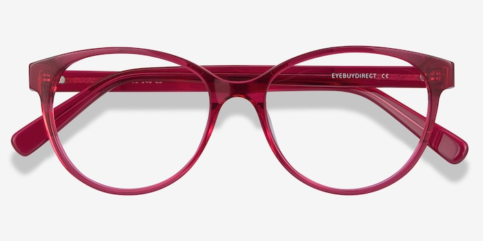 Laya Red Acetate Eyeglass Frames from EyeBuyDirect, Closed View