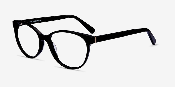 Laya Black Acetate Eyeglass Frames from EyeBuyDirect, Angle View
