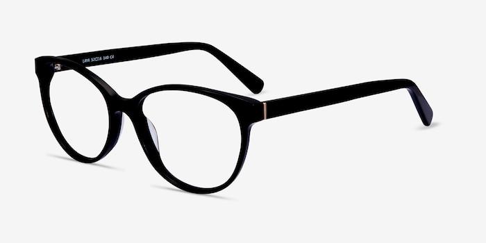 Laya Noir Acétate Montures de Lunettes d'EyeBuyDirect, Vue d'Angle