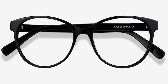 Laya Black Acetate Eyeglass Frames from EyeBuyDirect, Closed View