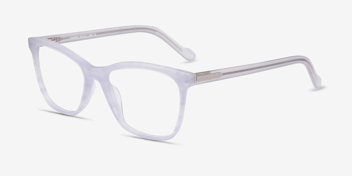 Cannes Clear Purple Acetate Eyeglass Frames from EyeBuyDirect, Angle View