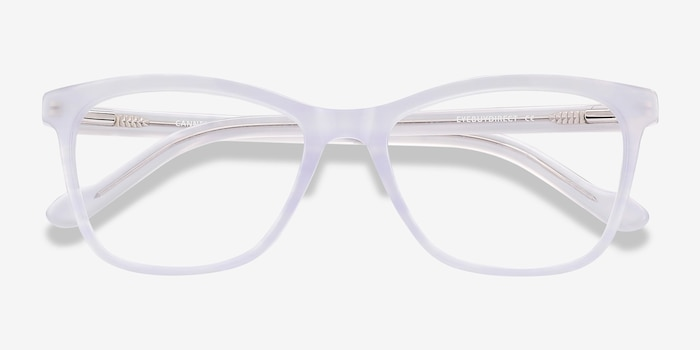 Cannes Clear Purple Acetate Eyeglass Frames from EyeBuyDirect, Closed View