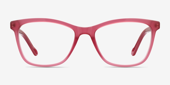 Cannes Clear Raspberry Acetate Eyeglass Frames from EyeBuyDirect, Front View
