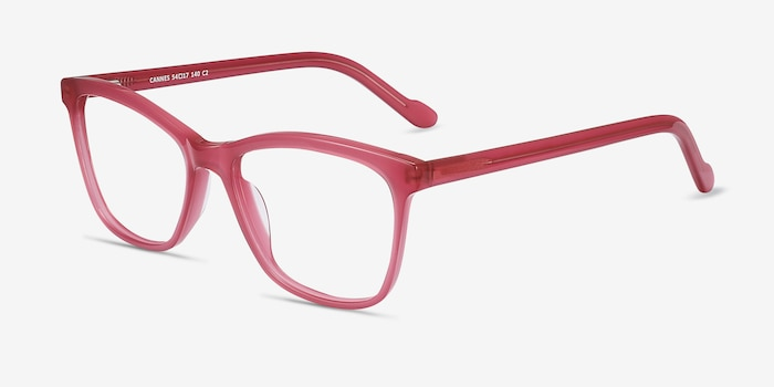 Cannes Clear Raspberry Acétate Montures de Lunettes d'EyeBuyDirect, Vue d'Angle
