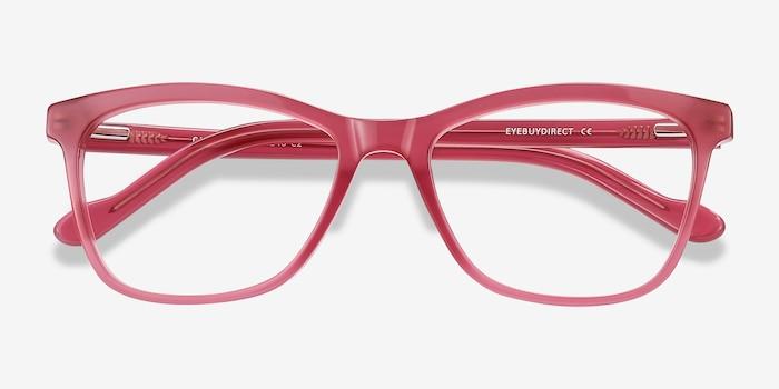 Cannes Clear Raspberry Acétate Montures de Lunettes d'EyeBuyDirect, Vue Rapprochée