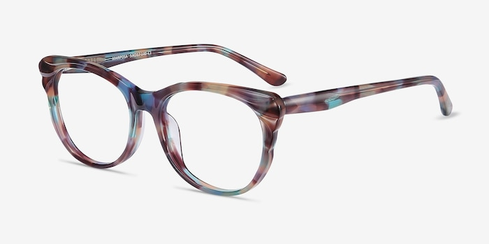 Mariposa Floral Acetate Eyeglass Frames from EyeBuyDirect, Angle View