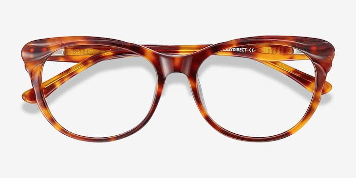 Mariposa Tortoise Acetate Eyeglass Frames from EyeBuyDirect, Closed View