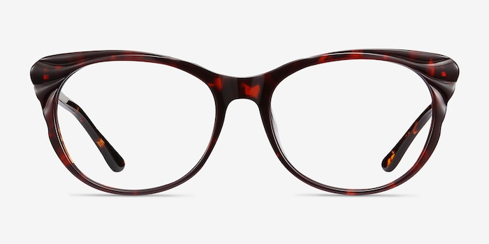 Mariposa Red Tortoise Acetate Eyeglass Frames from EyeBuyDirect, Front View